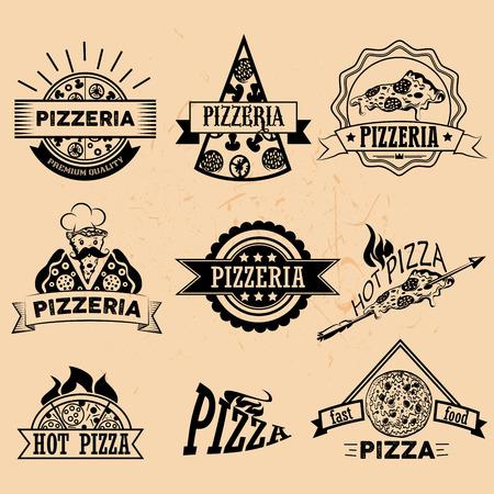 Set of Pizza Labels and Badges in vintage style. Logo, icons, emblems and design elements for pizzeria restaurant. Ilustração