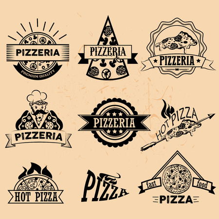 Set of Pizza Labels and Badges in vintage style. Logo, icons, emblems and design elements for pizzeria restaurant. Illustration