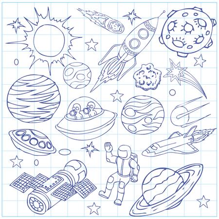 宇宙落書き、シンボルやデザイン要素、宇宙船、ufo、惑星、星、ロケット、宇宙飛行士、彗星と練習帳のシート。漫画の背景。手には、ベクター グ