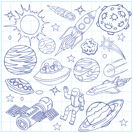 draw: Sheet of exercise book with outer space doodles, symbols and design elements, spaceships, ufo, planets, stars, rocket, astronauts, comets. Cartoon background. Hand drawn vector illustration.