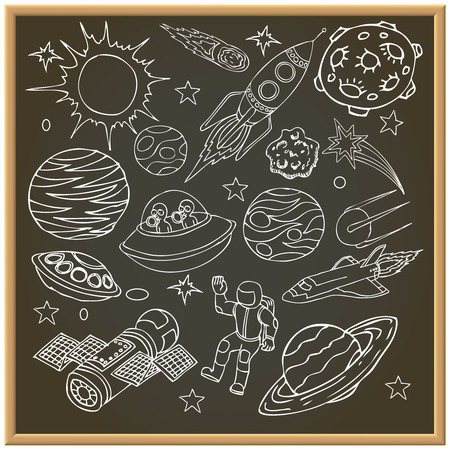 space station: School chalk board with outer space doodles, symbols and design elements, spaceships, ufo, planets, stars, rocket, astronauts, comets. Cartoon background. Hand drawn vector illustration