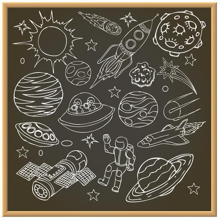 estrella caricatura: Tablero de tiza de la escuela con los doodles espacio exterior, símbolos y elementos de diseño, naves espaciales, ufo, planetas, estrellas, cohetes, astronautas, los cometas. Fondo de la historieta. Dibujado a mano ilustración vectorial Vectores