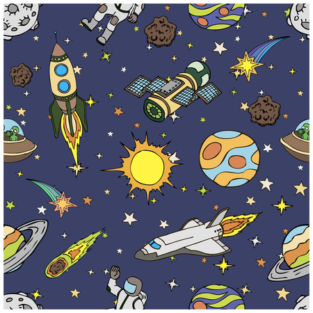 Outer Space Doodles Symbols And Design Elements Spaceships