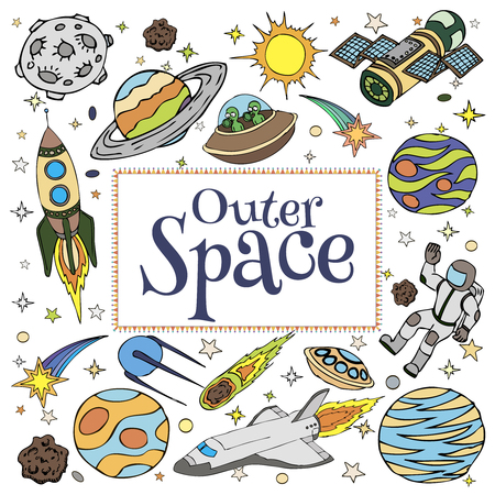 Outer Space doodles, symbols and design elements, spaceships, ufo, planets, stars, rocket, astronauts, sun, satellite, comets. Cartoon space icons for kids book cover. Hand drawn vector illustration.