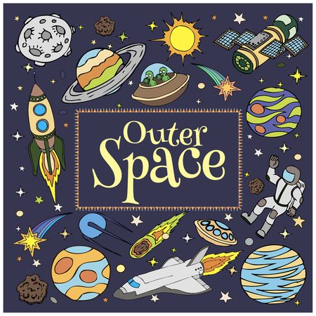 Outer Space doodles, symbols and design elements, spaceships, ufo, planets, stars, rocket, astronauts, sun, satellite. Cartoon space icons for kids book cover. Hand drawn vector illustration. Vettoriali