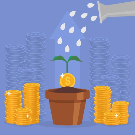 financial adviser: Business concept vector illustration in flat style. Money investment concept. Money Growth. Business person watering money tree. Dollar coins stack. Illustration