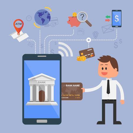 Vector illustratie concept van het internet bankieren. Vlakke stijl ontwerp. Pictogrammen voor online betalingen, mobiele betalingen, credit cards, overschrijvingen en de bank geld te besparen.