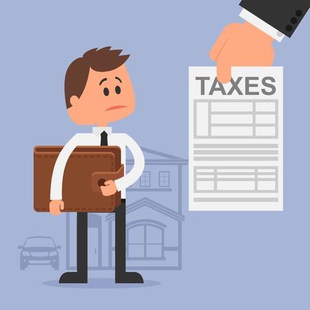 財務管理や税金のコンセプト漫画ベクトル イラスト。財布を持つ不幸な男は、税務インボイスを得た。フラットなデザイン。