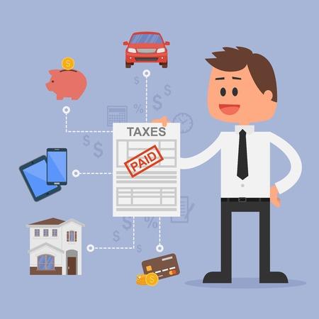 Cartoon vector illustratie voor het financiële beheer en belastingen concept. Gelukkig zakenman betaalde belastingen. Auto, huis, belasting, besparingen en creditcards iconen. Platte design. Stock Illustratie