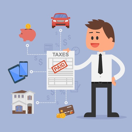 Cartoon vector illustration for financial management and taxes concept. Happy businessman paid all taxes. Car, house, tax, savings and credit cards icons. Flat design. Ilustração