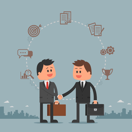 business deal: Business concept vector illustration in flat cartoon style. Business people shaking hands. Businessmen making a deal. Money investment concept. Business development cycle from idea to success.