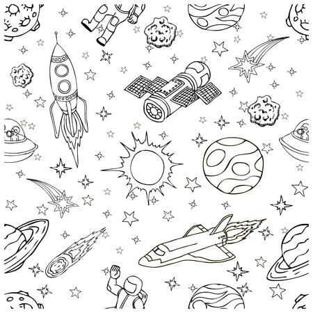 シンボルやデザイン要素、宇宙船、惑星、星、ロケット、宇宙飛行士、衛星、彗星、宇宙がいたずら書き。子供の本の表紙の漫画スペースのアイコ