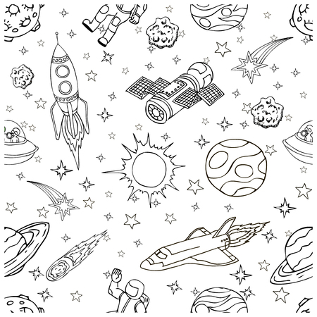 Outer Space doodles, symbols and design elements, spaceships, planets, stars, rocket, astronauts, satellite, comets. Cartoon space icons for kids book cover. Hand drawn vector illustration.