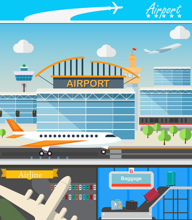 transporter: Airport building and travel concept vector illustration in flat design. Terminal, takeoff and landing strips. Luggage transporter and airport tower.