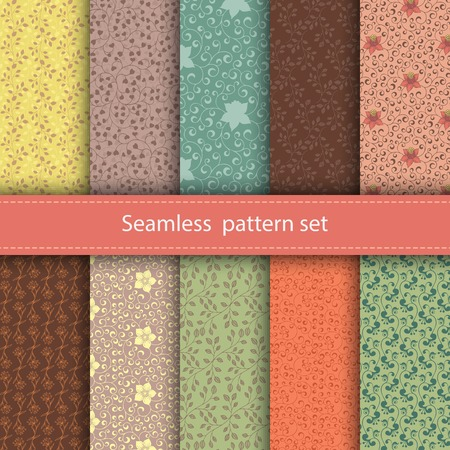 Vector set of 10 seamless floral patterns. Decorative flowers and design elements for textile, book covers, manufacturing, invitations, greeting cards, print, gift wrap.