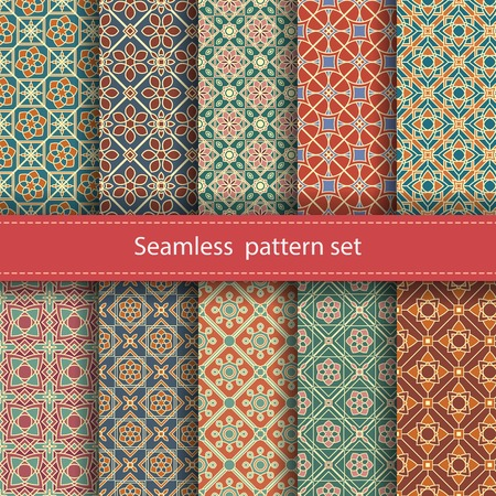 Vector set of 10 seamless mosaic patterns. Arabic tile texture with geometric ornament. Decorative and design elements for textile, book covers, manufacturing, wallpapers, print, gift wrap. Vettoriali