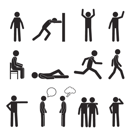 figura humana: Hombre pictograma postura y iconos conjunto. Gente sentado, de pie, corriendo, la mentira, hablando. La acción del cuerpo humano plantea y figuras. Ilustración vectorial aislados en fondo blanco.