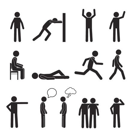 strichmännchen: Man Haltung Piktogramm und Symbole gesetzt. Menschen Sitzen, Stehen, Laufen, Liegen, Reden. Der menschliche Körper Aktion wirft und Figuren. Vektor-Illustration auf weißem Hintergrund.