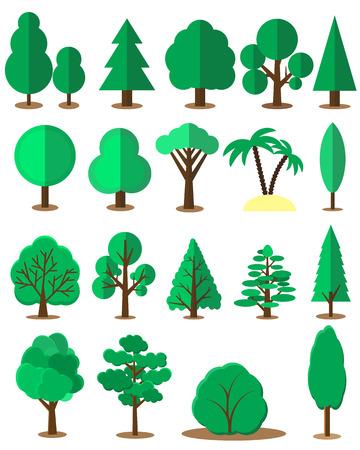 Conjunto del árbol de plano aislado en el fondo blanco. Colección de vector de elementos de diseño de juegos, dibujos animados, ilustraciones y así sucesivamente. Vectores