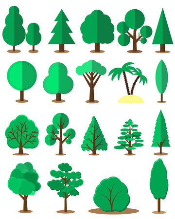 pine trees: Flat tree set isolated on white background. Vector collection of design elements for games, cartoons, illustrations and so on.