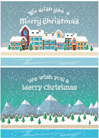 ilustracion: Christmas holiday season. Small town in snowfall. City and mountain landscape background. Vector illustration in flat style design. Cards and banners for Christmas celebration.