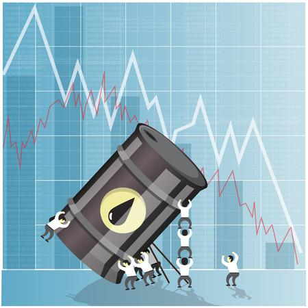 barril de petr�leo: Concepto de la crisis de la industria del petr�leo. Ca�da de los precios del petr�leo crudo. Los mercados financieros ilustraci�n vectorial. Vectores