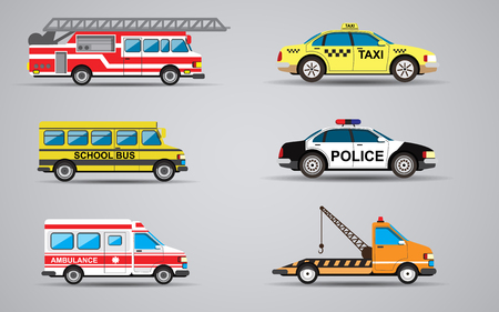 Vector set of the isolated transport icons. Fire truck, ambulance, police car, truck for transportation faulty cars, school bus, taxi. Illusztráció