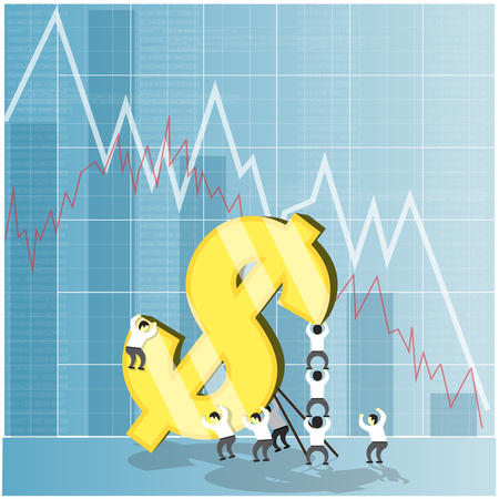 economic crisis: Concept for economy stock and currency market crash down. Financial background. Dollar falling and economic crisis. Vector illustration. Illustration