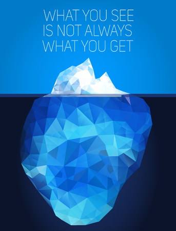 berg: Iceberg under water and above water. Vector illustration in low poly  style. Concept polygon image. Illustration
