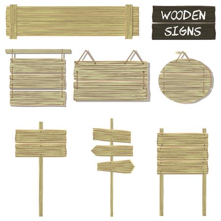 letreros: Muestras de madera. Vector conjunto de letreros de madera, colgando de se�alizaci�n, etc.. elementos aislados sobre fondo blanco. Vectores