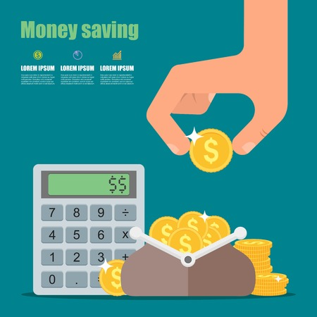 saving: Money saving concept. Vector illustration in flat style design. Wallet full of coins, calculator and hand with coin. Finance symbols and icons.