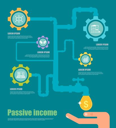 passive income: Passive income concept. Cartoon vector illustration. Gears and coins icons. Illustration