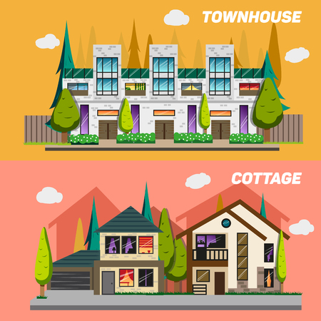 small country town: Street with townhouses and country houses with a garden. Set of elements for the construction of urban landscapes. Small town and home concept banners. Vector flat design illustration