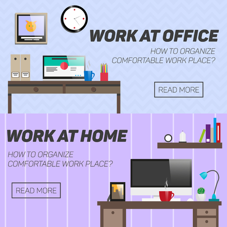 business website: Home and office work place concept. Vector illustration in flat design. Room interior with desk, computer, books and accessories. Illustration