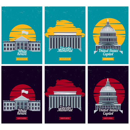 lincoln memorial: USA tourist destination posters. Vector illustration with American famous buildings in Washington. Banner with Capitol, White House, Lincoln Memorial monument. US traditional symbols and architecture
