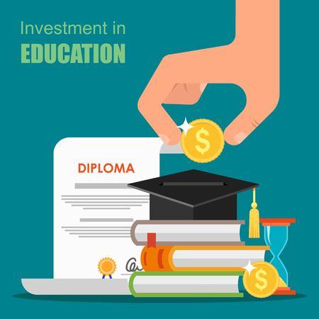教育: 投資教育的概念。矢量插畫的平板式的設計。書籍,文憑和大學的學生帽堆棧。節省的錢用於研究