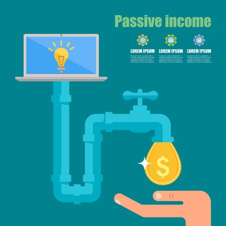 passive income: Passive income concept. Cartoon vector illustration. Tap with golden dollar droplet.