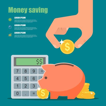 business sign: Money saving concept. Vector illustration in flat style design. Piggy bank, calculator and hand with coin. Finance symbols and icons.