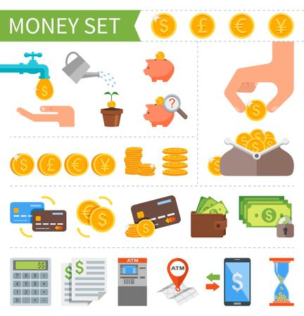 investment: Vector set of Money and Finance icons in flat style. Design elements for web and mobile applications. Business pictogram collection.