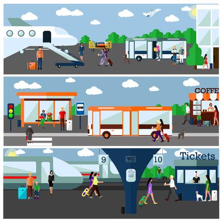 Tipo de transporte concepto de ilustración vectorial. Aeropuerto, estaciones de autobuses y de tren. Los elementos de diseño y pancartas en estilo plano. objetos de transporte urbano, autobús, tren, avión, los pasajeros Ilustración de vector