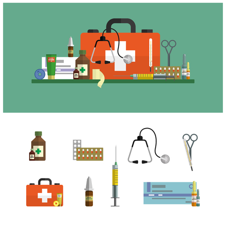first aid box: Health care and medical flat banners. First aid icons set and design elements. Medical tools, drugs, scissors, stethoscope, syringe.