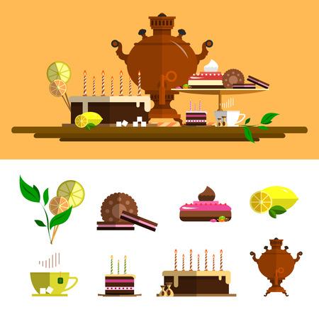 kitchen cartoon: tradicional ceremonia del t� con samovar. iconos conjunto de vectores en el estilo plano. Los elementos de dise�o, torta, chocolate, lim�n, galletas, dulces.