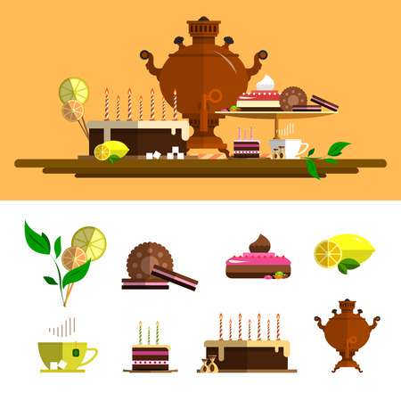 candy cartoon: Traditional tea ceremony with samovar. Vector icons set in flat style. Design elements, cup, cake, chocolate, lemon, cookies, sweets.