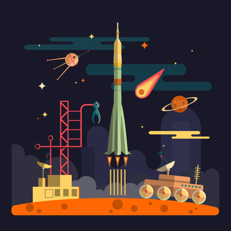 Rocket launch on space landscape background. Planets, satellite, stars, moon rover, clouds. Vector illustration in flat style design.