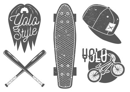 hip: Vector set of vintage sport labels, emblems  Illustration