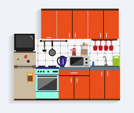 cabinets: Kitchen interior with furniture in flat style. Design elements and icons, utensils, tools, cabinets, microwave, oven. Modern vector illustration