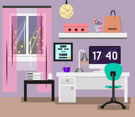 computer screen: Bedroom Interior in flat design. Room in pink colors with window, computer, desk, chair, lamp. Modern vector illustration concept. Illustration