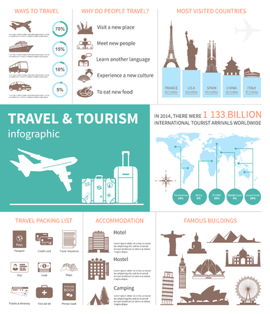 symbol tourism: Travel and world tourism Infographic. Template with map, icons, tourists attractions, charts and elements for web design. Vector illustration. Illustration