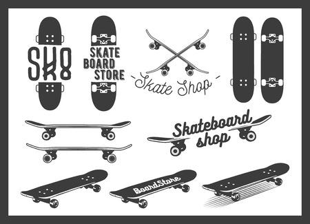Vector set of skateboard emblems, labels, badges and design elements. Skateboarding concept illustration in monochrome style.