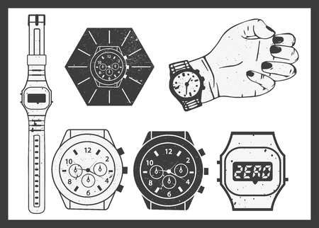 chronograph: Hand watches vector set. Electronic and classic mechanical watch